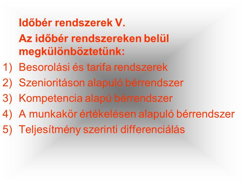 Időbér rendszerek V. Az időbér rendszereken belül megkülönböztetünk: Besorolási és tarifa rendszerek.