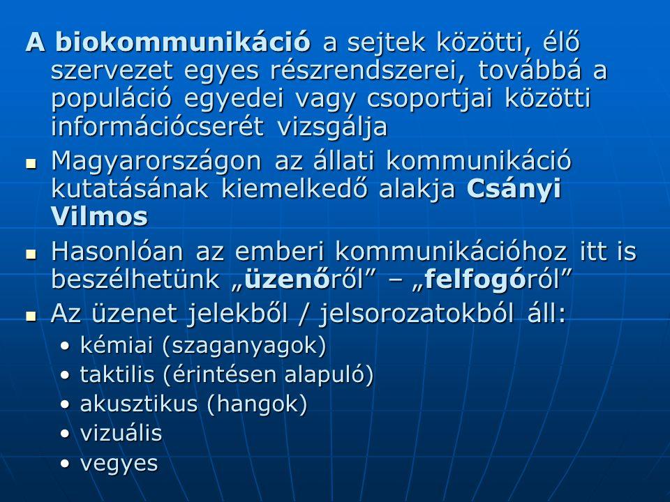 Az üzenet jelekből / jelsorozatokból áll: