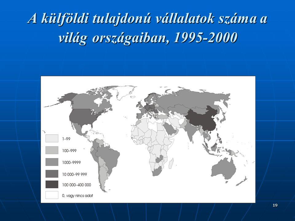 A külföldi tulajdonú vállalatok száma a világ országaiban, 1995-2000