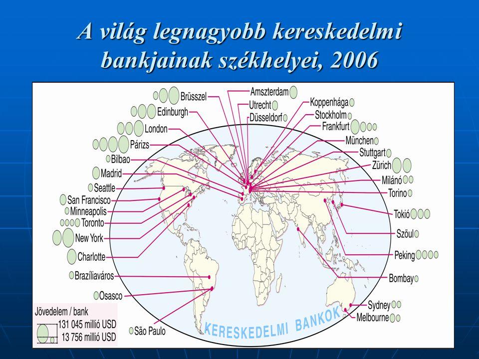 A világ legnagyobb kereskedelmi bankjainak székhelyei, 2006