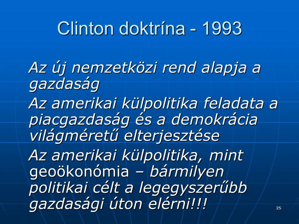 Clinton doktrína - 1993 Az új nemzetközi rend alapja a gazdaság