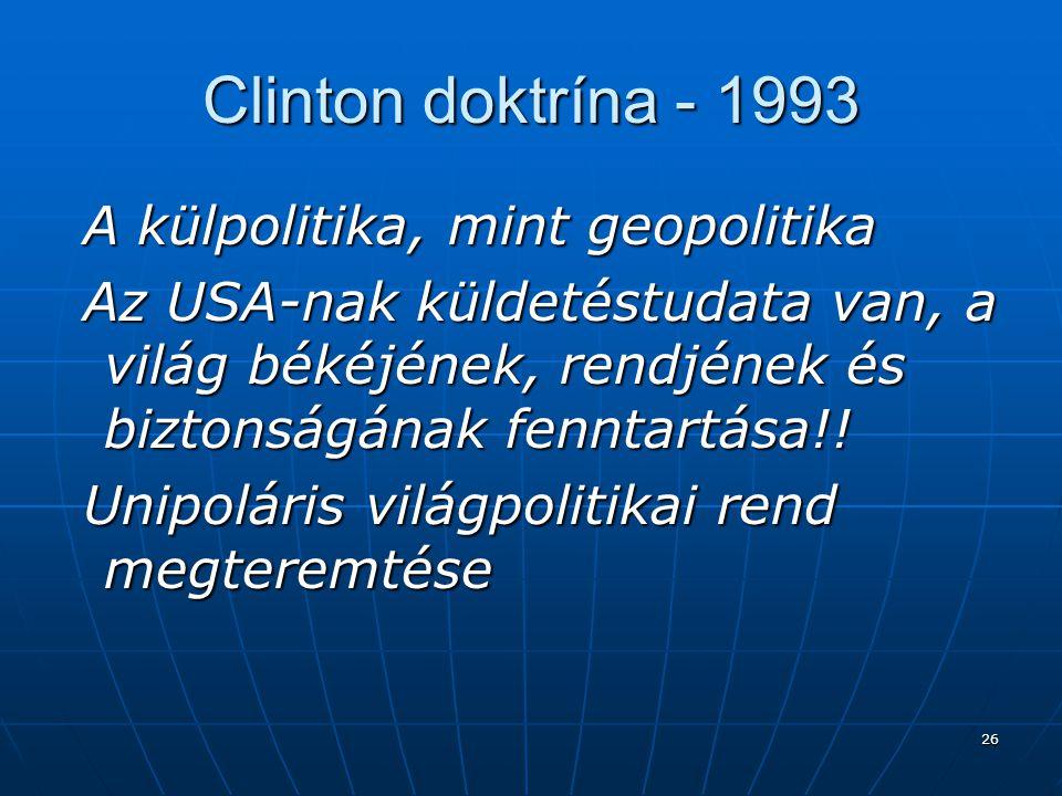 Clinton doktrína - 1993 A külpolitika, mint geopolitika