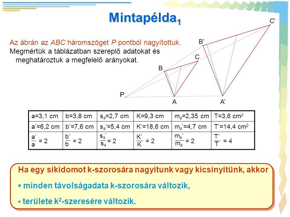 Mintapélda1 Az ábrán az ABC háromszöget P pontból nagyítottuk. Megmértük a táblázatban szereplő adatokat és.