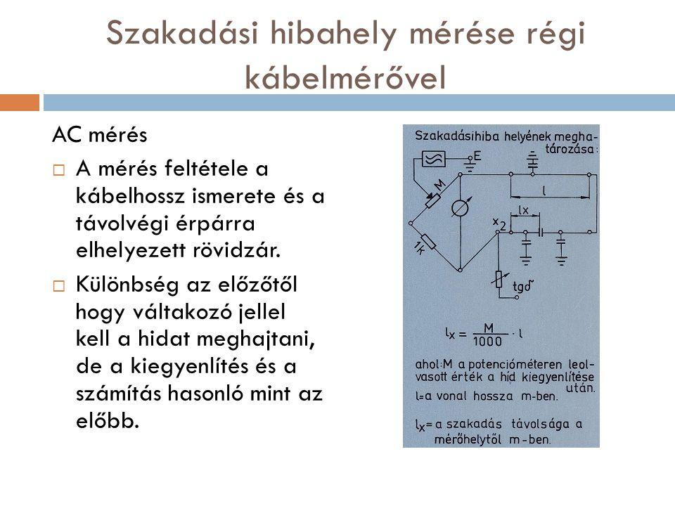 Szakadási hibahely mérése régi kábelmérővel