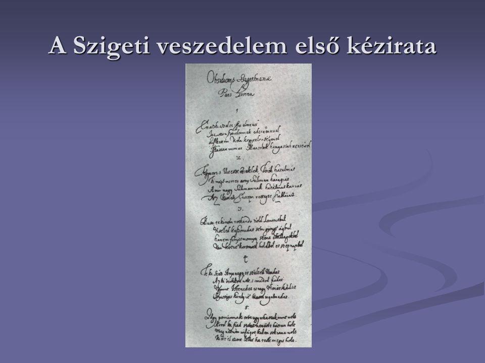 A Szigeti veszedelem első kézirata
