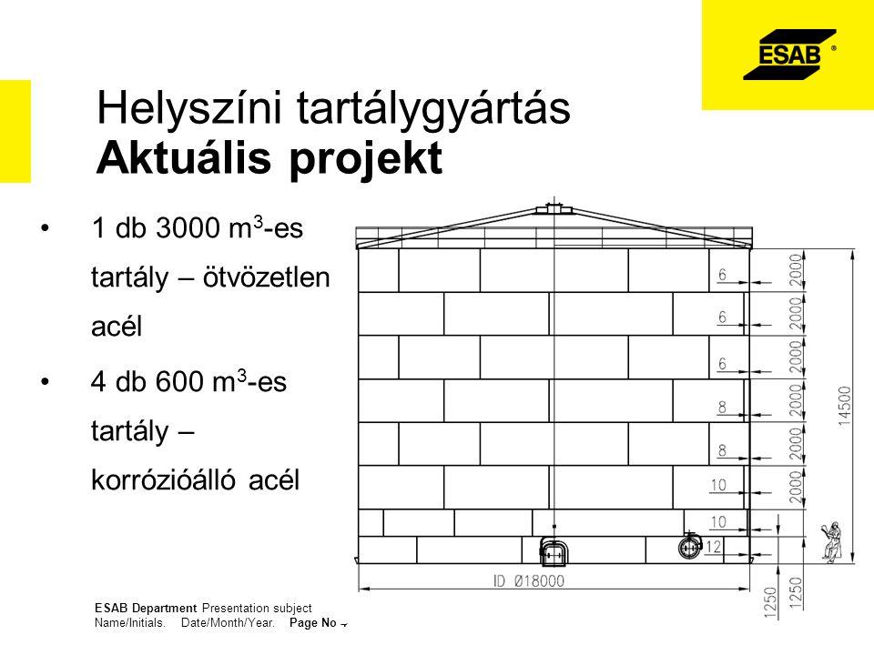 Helyszíni tartálygyártás Aktuális projekt