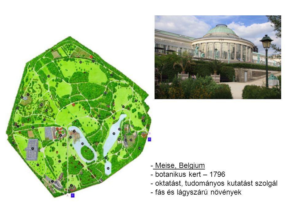 Meise, Belgium botanikus kert – 1796. oktatást, tudományos kutatást szolgál.