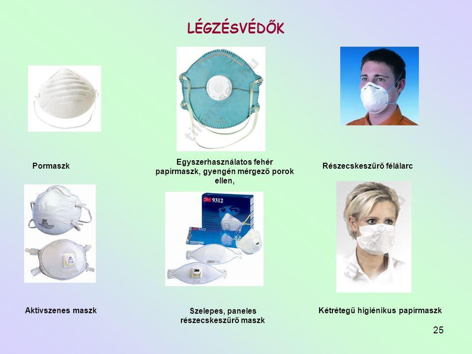 Egyszerhasználatos fehér papírmaszk, gyengén mérgező porok ellen,