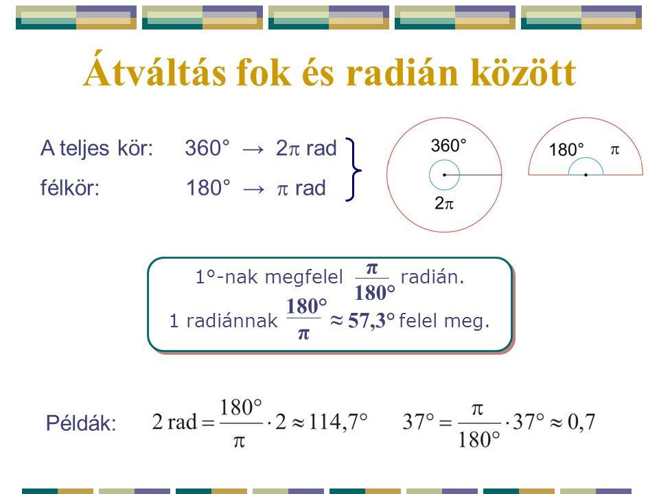 Átváltás fok és radián között