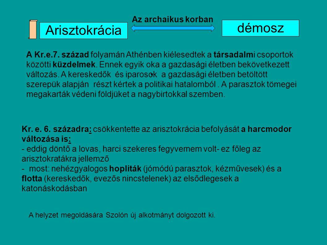 démosz Arisztokrácia Az archaikus korban