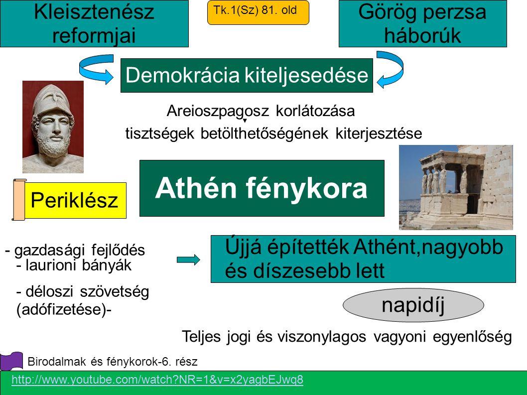 Athén fénykora Kleisztenész reformjai Görög perzsa háborúk