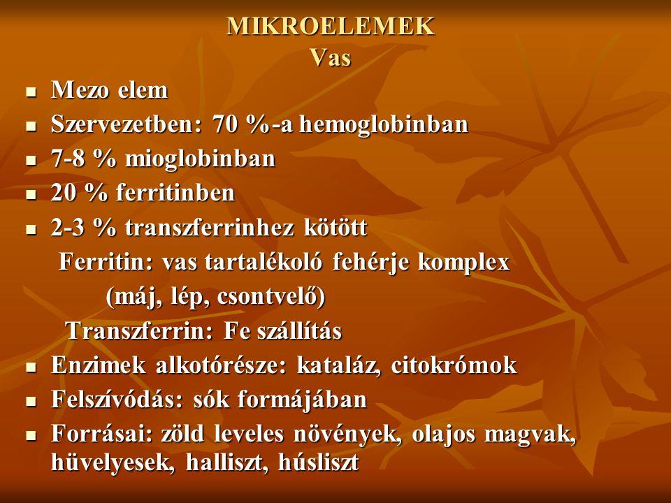 MIKROELEMEK Vas Mezo elem. Szervezetben: 70 %-a hemoglobinban. 7-8 % mioglobinban. 20 % ferritinben.