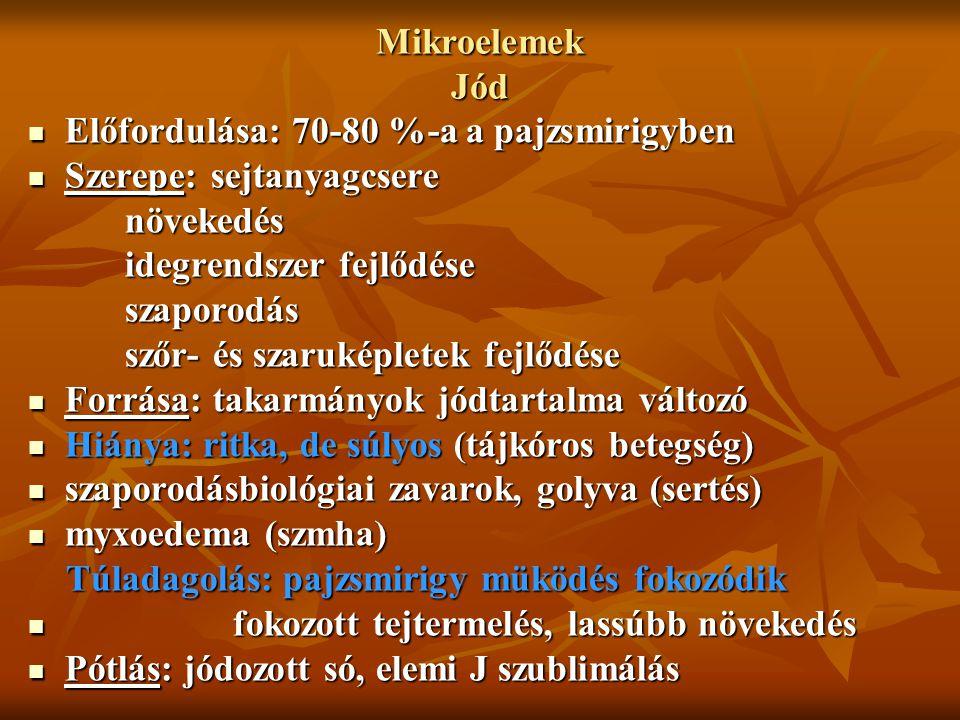 Mikroelemek Jód Előfordulása: 70-80 %-a a pajzsmirigyben. Szerepe: sejtanyagcsere. növekedés. idegrendszer fejlődése.