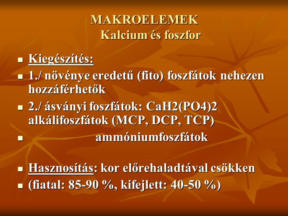 MAKROELEMEK Kalcium és foszfor