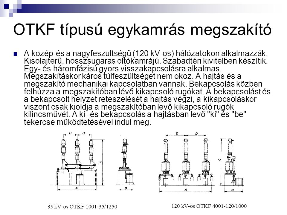 OTKF típusú egykamrás megszakító