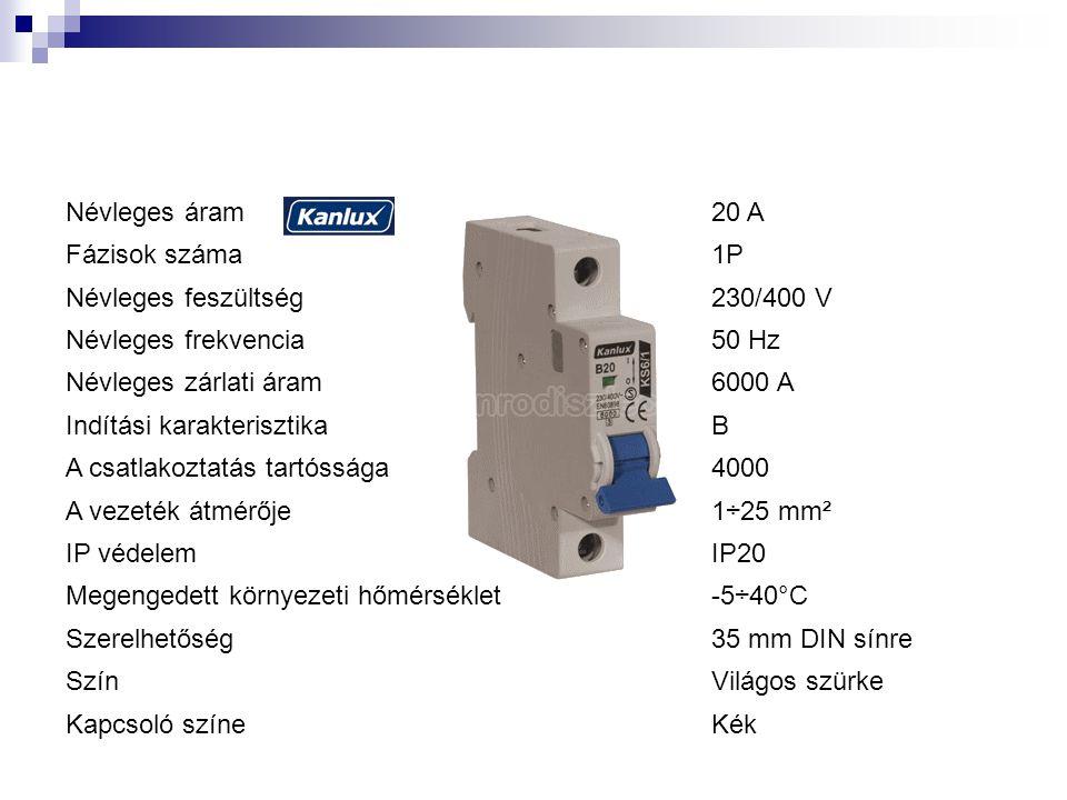 Névleges áram 20 A. Fázisok száma. 1P. Névleges feszültség. 230/400 V. Névleges frekvencia. 50 Hz.
