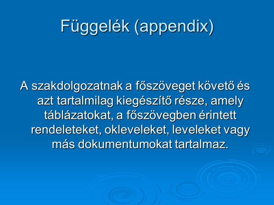 Függelék (appendix)