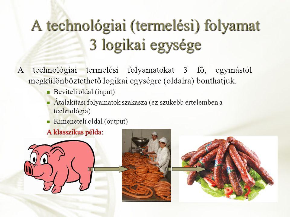 A technológiai (termelési) folyamat 3 logikai egysége