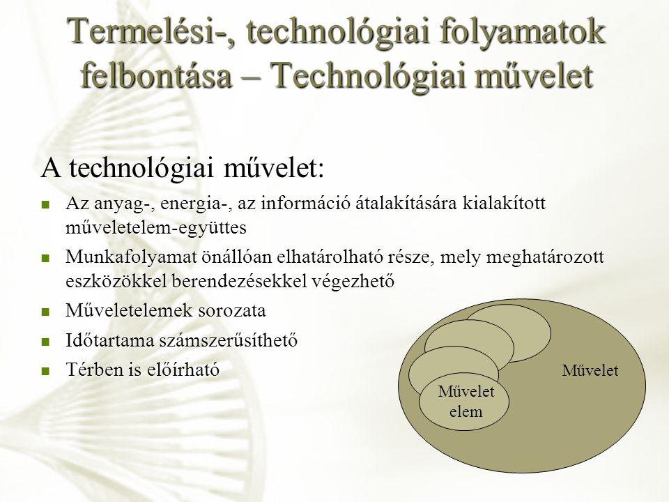 Termelési-, technológiai folyamatok felbontása – Technológiai művelet