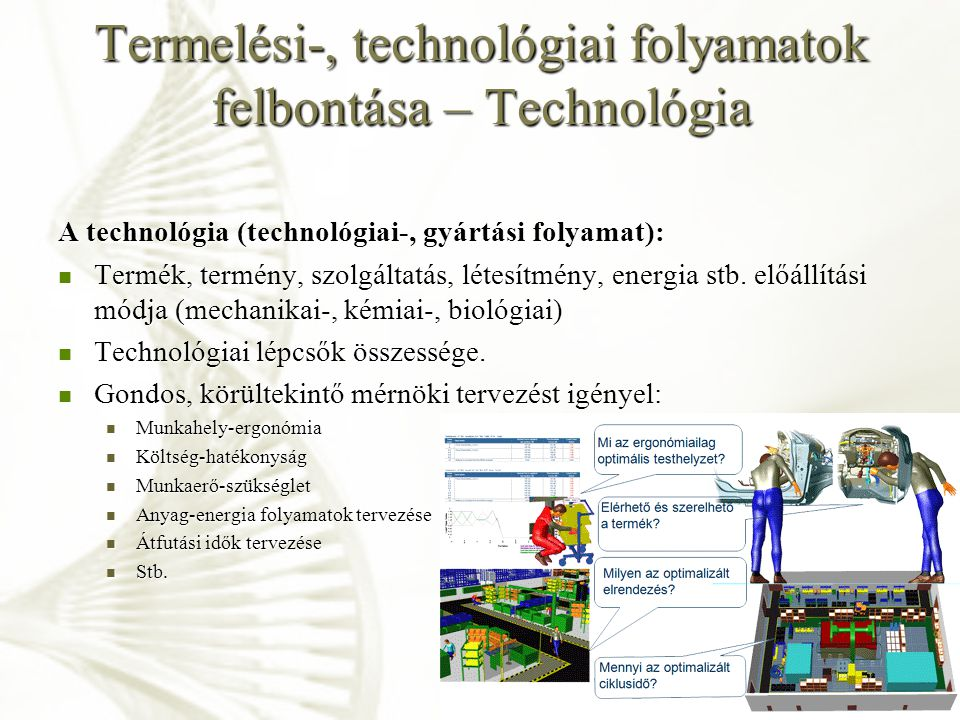 Termelési-, technológiai folyamatok felbontása – Technológia