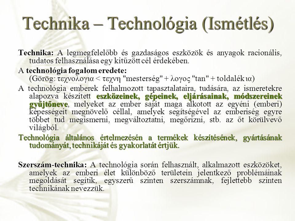 Technika – Technológia (Ismétlés)