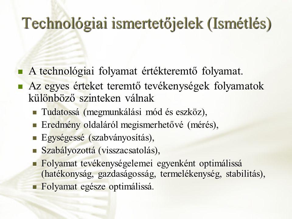 Technológiai ismertetőjelek (Ismétlés)
