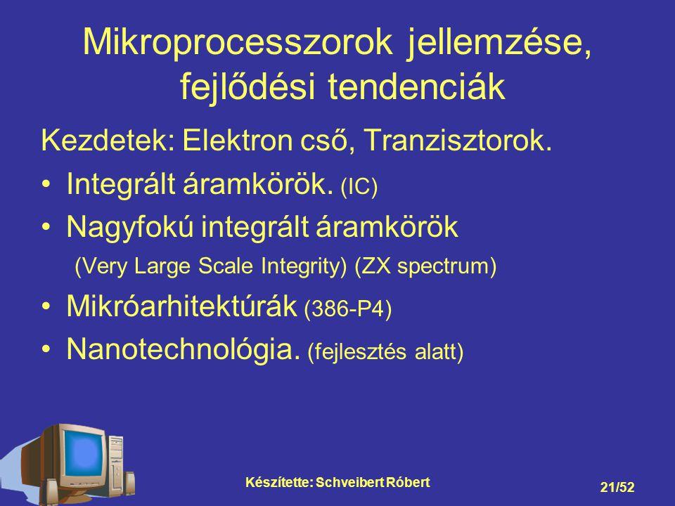 Mikroprocesszorok jellemzése, fejlődési tendenciák
