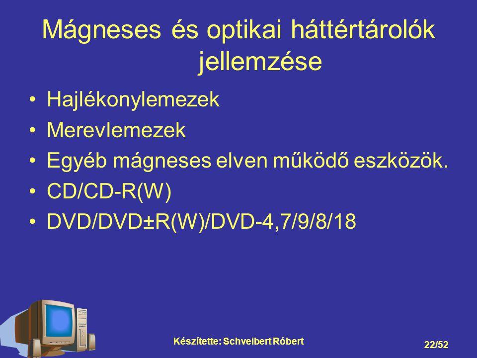Mágneses és optikai háttértárolók jellemzése