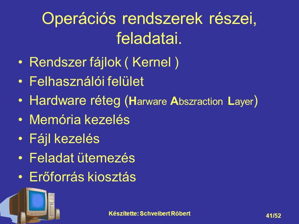 Operációs rendszerek részei, feladatai.