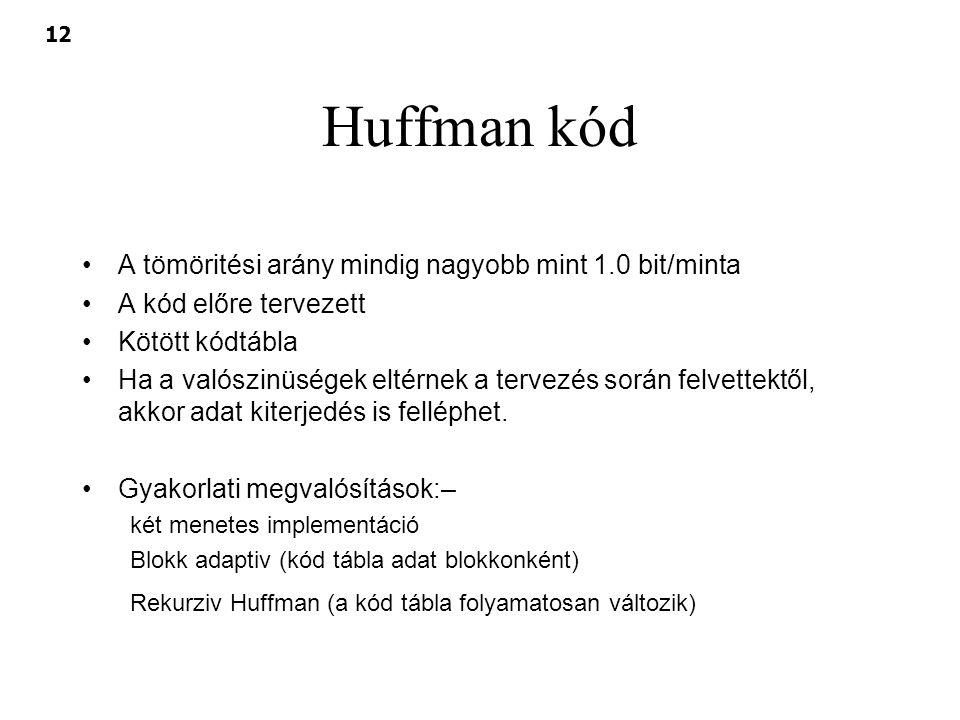 Huffman kód A tömöritési arány mindig nagyobb mint 1.0 bit/minta