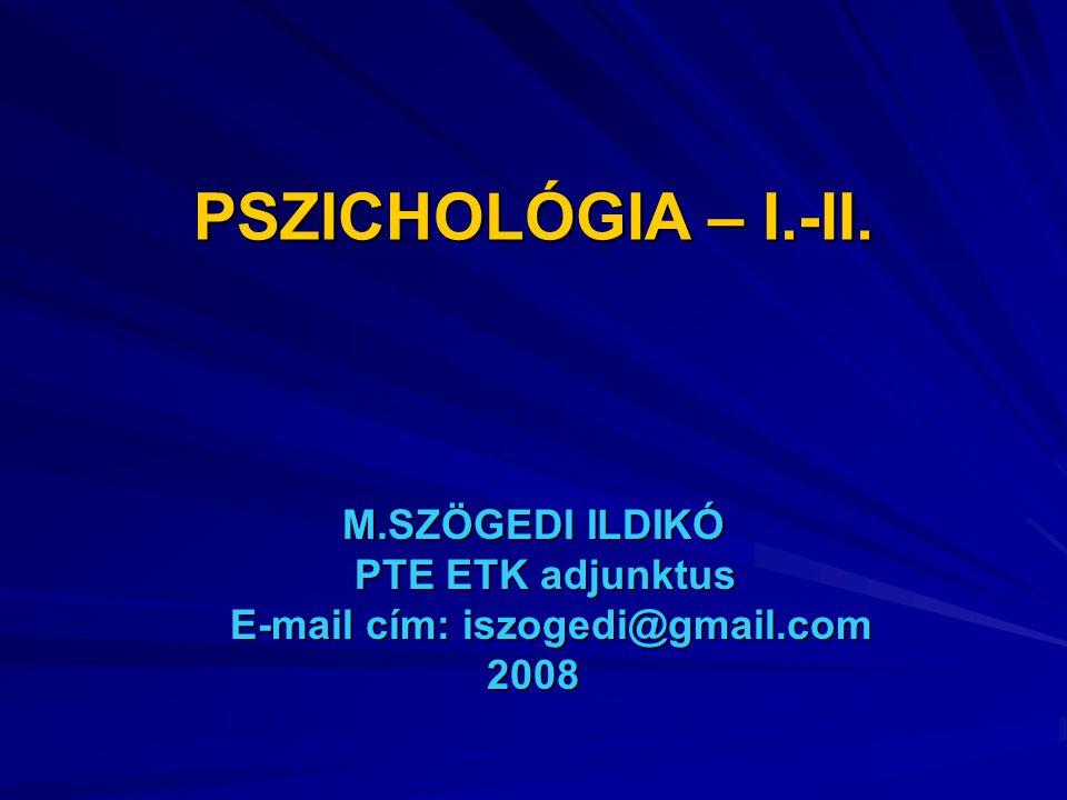 M.SZÖGEDI ILDIKÓ PTE ETK adjunktus E-mail cím: iszogedi@gmail.com 2008