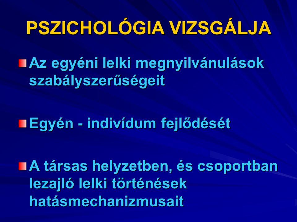 PSZICHOLÓGIA VIZSGÁLJA