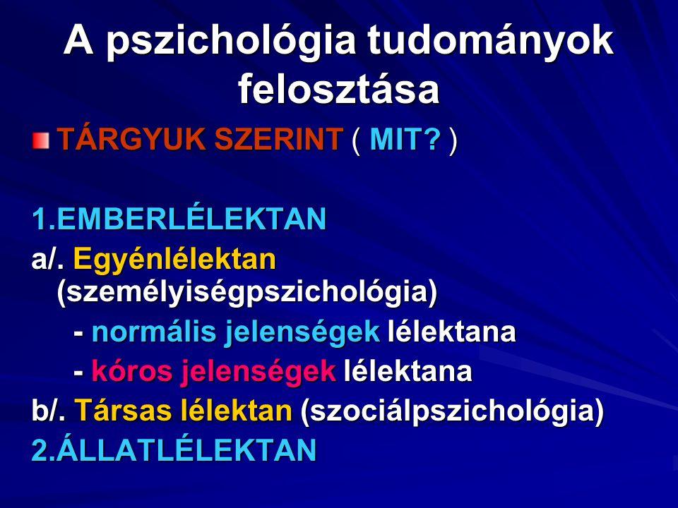 A pszichológia tudományok felosztása