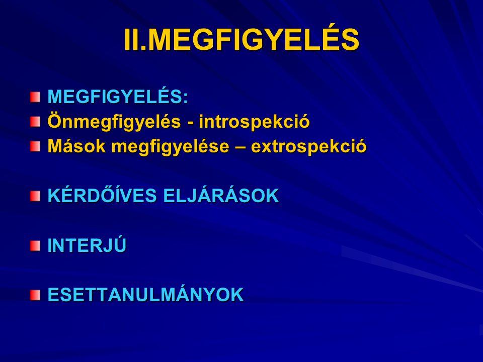 II.MEGFIGYELÉS MEGFIGYELÉS: Önmegfigyelés - introspekció