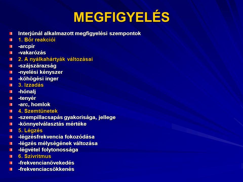 MEGFIGYELÉS Interjúnál alkalmazott megfigyelési szempontok