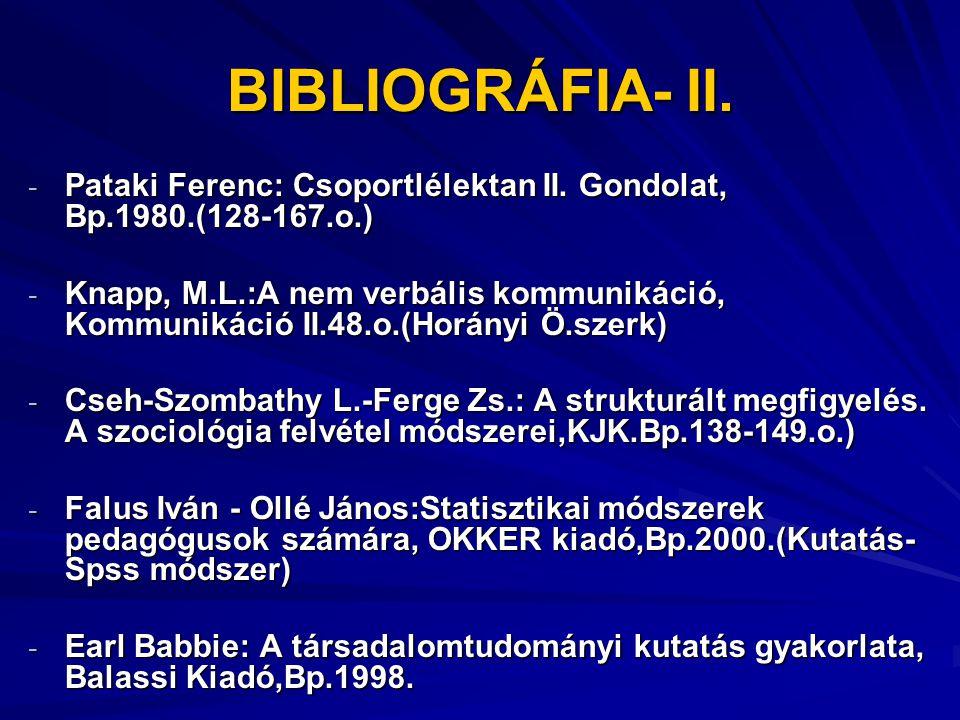 BIBLIOGRÁFIA- II. Pataki Ferenc: Csoportlélektan II. Gondolat, Bp.1980.(128-167.o.)