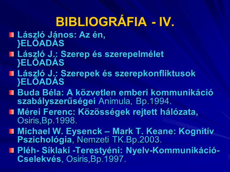 BIBLIOGRÁFIA - IV. László János: Az én, }ELŐADÁS