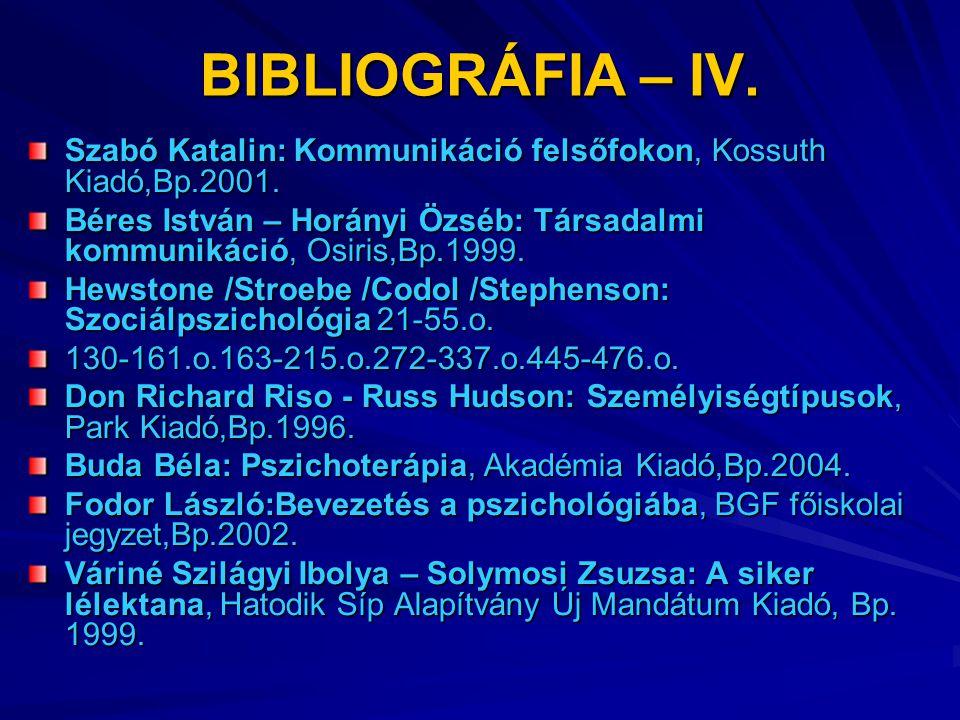 BIBLIOGRÁFIA – IV. Szabó Katalin: Kommunikáció felsőfokon, Kossuth Kiadó,Bp.2001.