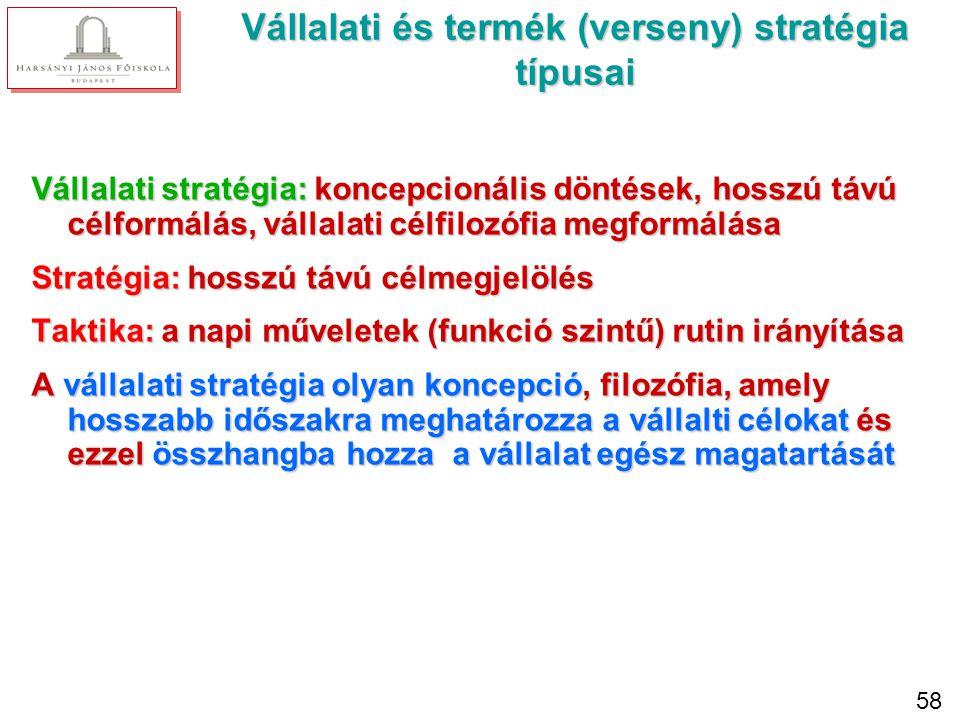 A stratégia kialakítása során figyelembe kell venni: