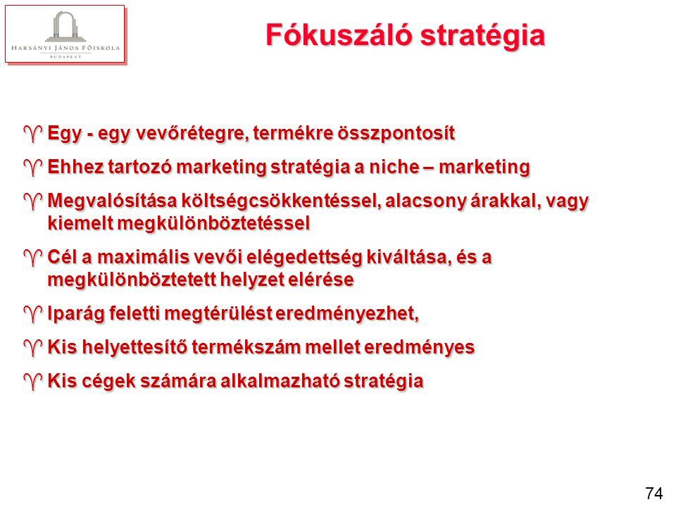 Gyakorlati feladat: Válassza ki a költségdiktáló, a differenciáló és a koncentráló stratégiák jellemzőit!