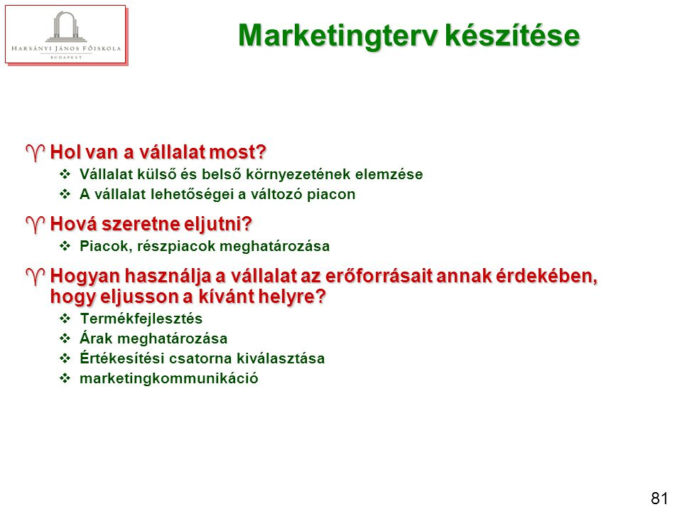 A marketingterv részei