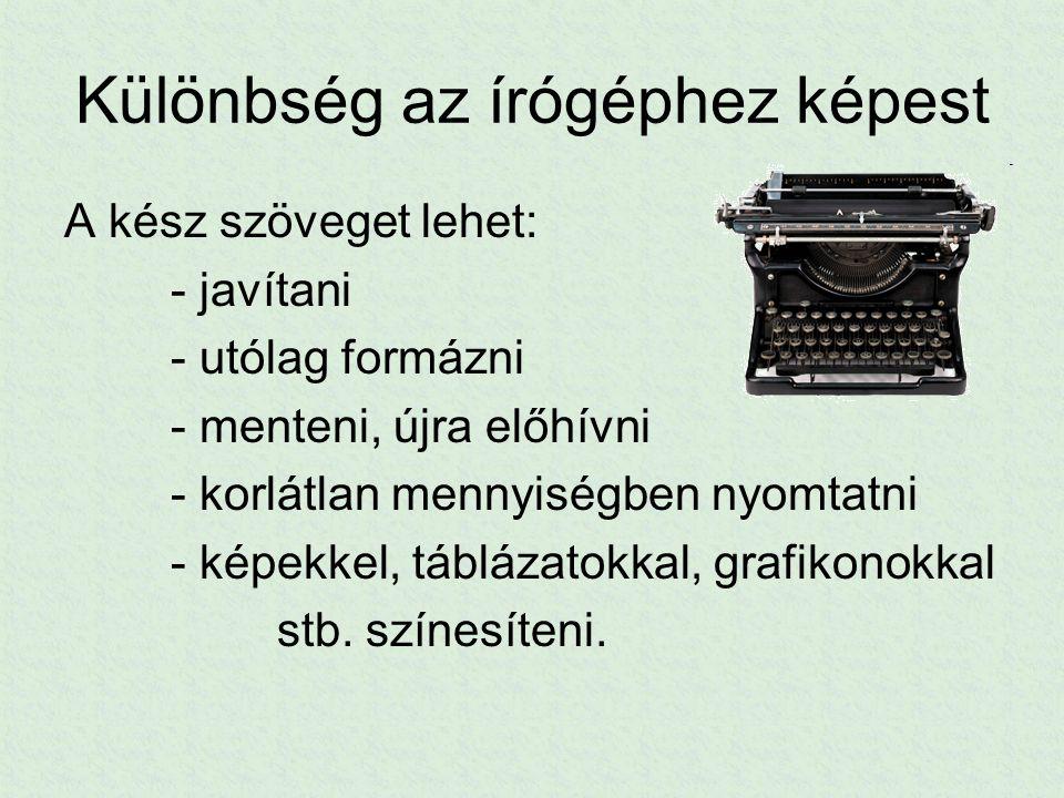 Különbség az írógéphez képest