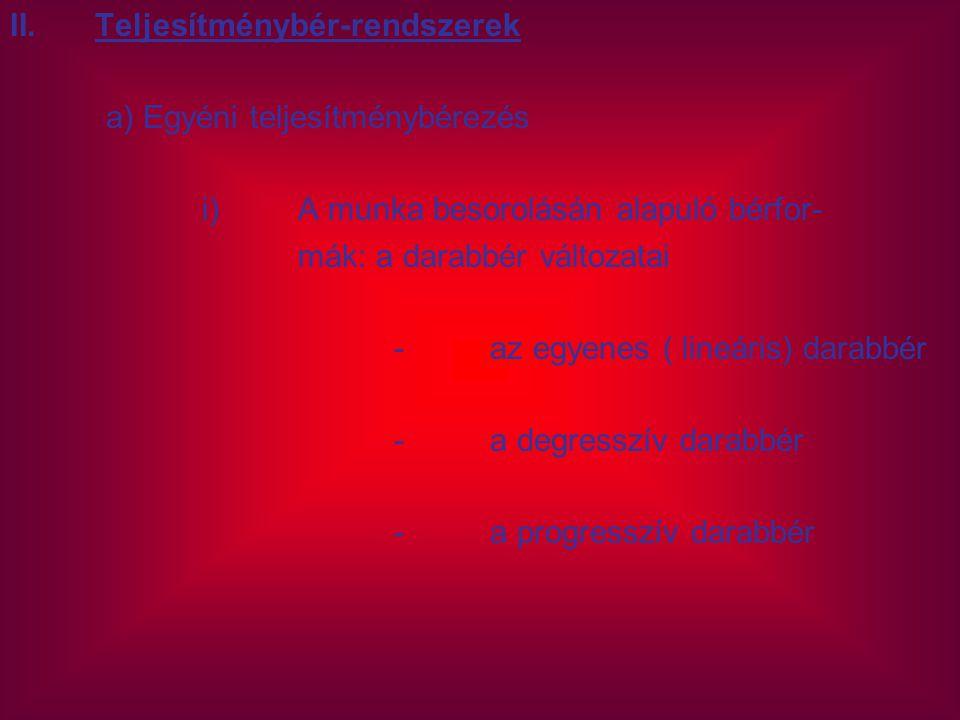 Teljesítménybér-rendszerek a) Egyéni teljesítménybérezés