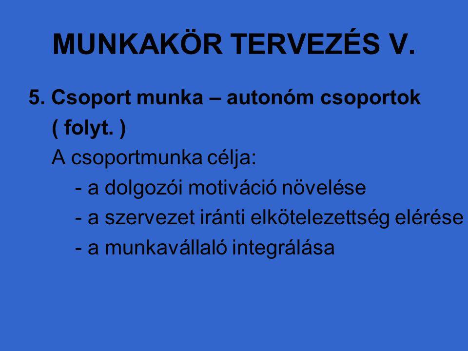 MUNKAKÖR TERVEZÉS V. 5. Csoport munka – autonóm csoportok ( folyt. )