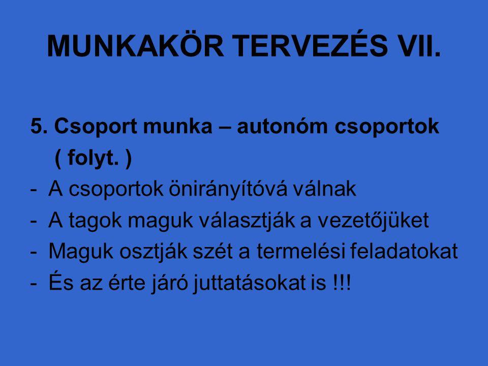 MUNKAKÖR TERVEZÉS VII. 5. Csoport munka – autonóm csoportok ( folyt. )