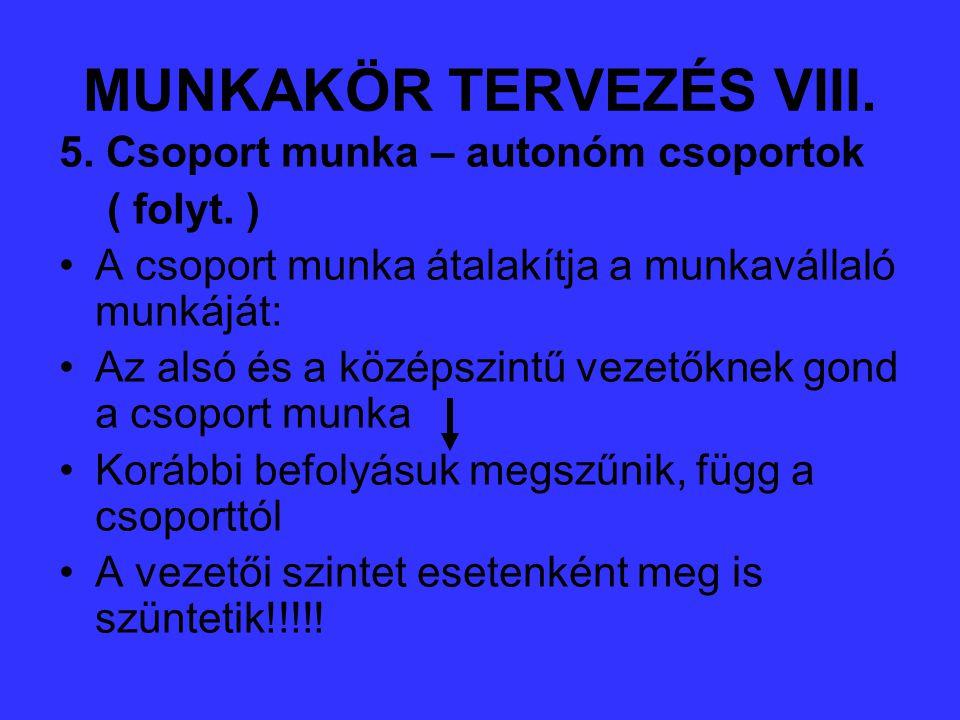 MUNKAKÖR TERVEZÉS VIII.