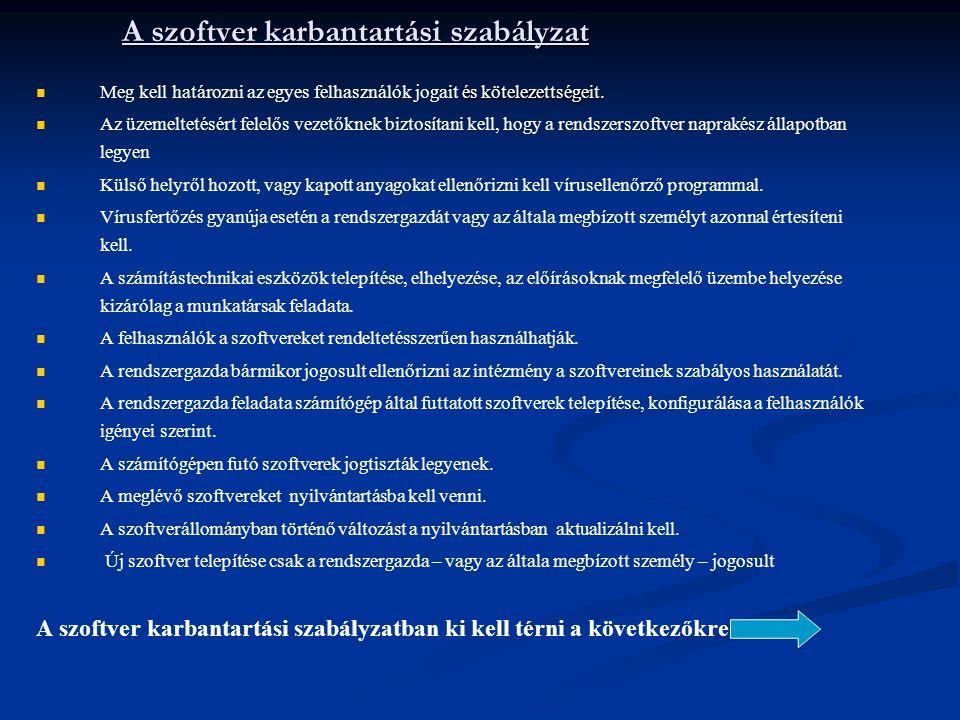 A szoftver karbantartási szabályzat