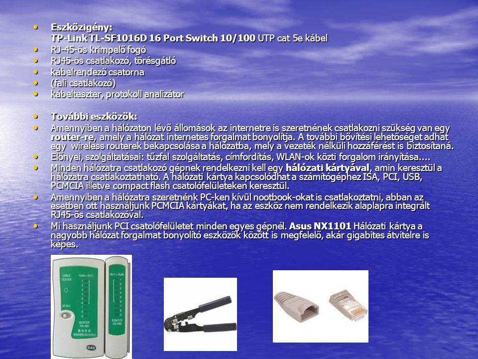 Eszközigény: TP-Link TL-SF1016D 16 Port Switch 10/100 UTP cat 5e kábel. RJ-45-ös krimpelő fogó. RJ45-ös csatlakozó, törésgátló.