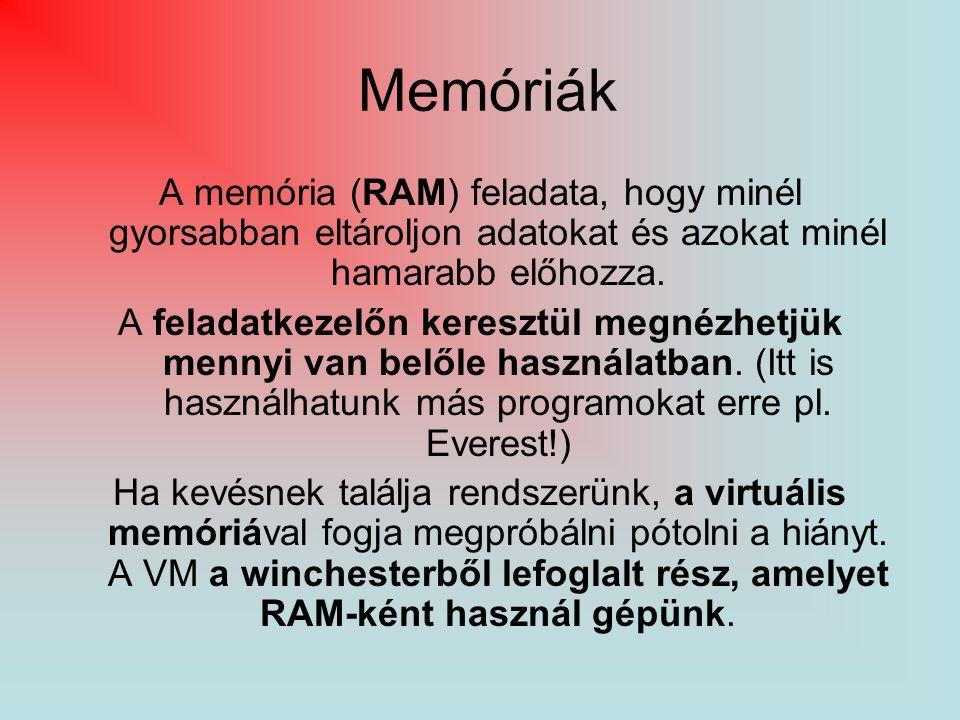 Memóriák A memória (RAM) feladata, hogy minél gyorsabban eltároljon adatokat és azokat minél hamarabb előhozza.