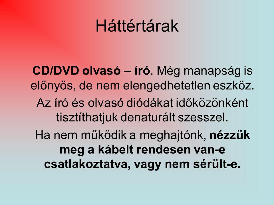 Háttértárak CD/DVD olvasó – író. Még manapság is előnyös, de nem elengedhetetlen eszköz.